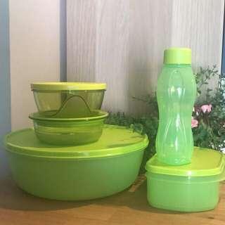 Tupperware Green Set - 7pcs - New - Free Pos