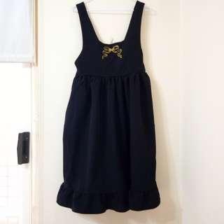 🚚 日系軟妹 | 金色蝴蝶結刺繡 背帶裙 洋裝 下襬荷葉 黑色款 #半價衣服市集