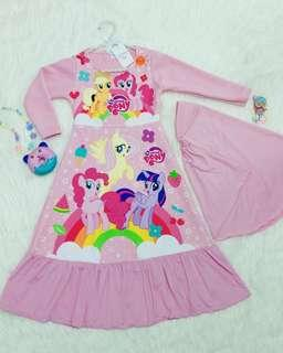 CLEARANCE SALE Jubah/Gamis Little Pony Dress with Tudung