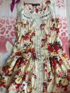 Cream floral tunic long top