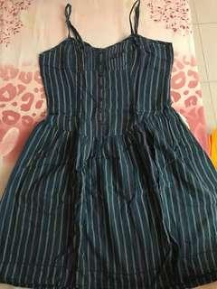 Urban Outfitters blue striped button front dress S