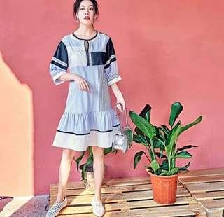 Patchwork Drop-hem Oversized Dress
