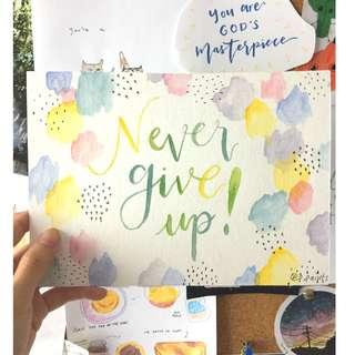 Handmade Watercolour Artwork | Never Give Up