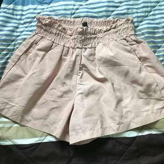 uzzlang dusty pink paper bag shorts