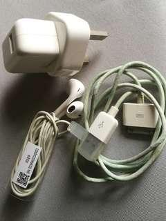 Apple original charger and earphone