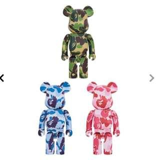 Pre-Order預訂MEDICOM TOY BE@RBRICK - ABC CAMO 1000% GREEN/BLUE/PINK sets for 3
