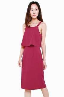 🚚 AWE Kari Magenta Overlap Layer Pencil Dress