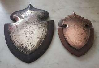 Antique 1930s Jawi Malay Engraved Shield Trophy