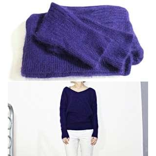 韓國製 Lahee 安哥拉羊毛混紡暗紫毛衣