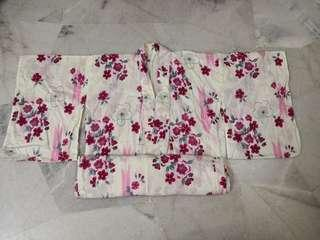 Full set Japanese Yukata for Ladies (Pink floral) - Imported from Japan