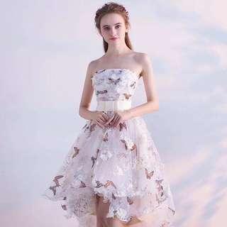 珍珠白蝴蝶式連身裙(適合任何宴會、出席events show、結婚、生日會、晚會)