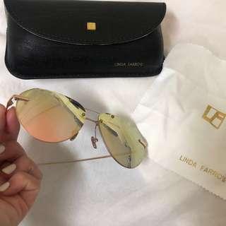 Linda Farrow 飛行員太陽眼鏡渡18k玫瑰金 sunglasses (九成新如圖實拍