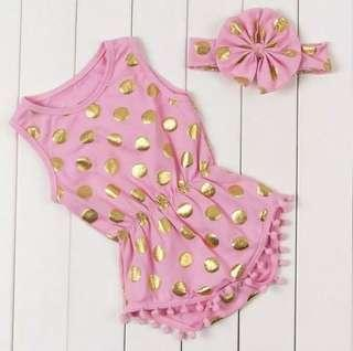 🚚 Baby Pink Polka Dot Romper + Matching HeadBand