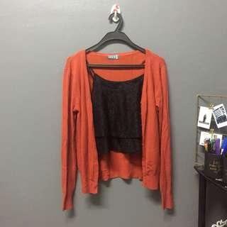 (ADULT) 2pcs for rm5 lace crop top & cardigan