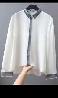 寬鬆白色雪纺恤衫