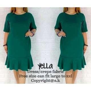 New! 4 colors! Yella Ruffles Hemline Dress (FS: Stretch, fits L -2XL, fits 29 - 35 w)