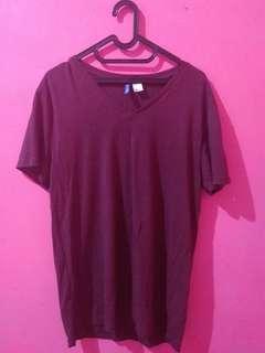 Kaos maroon polos h&m divided plain tshirt t-shirt