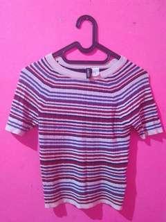kaos crop top stripes h&m tshirt t-shirt divided