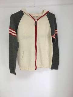 紅白灰撞色顯瘦 薄毛外套