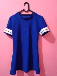 short dress pendek biru blue