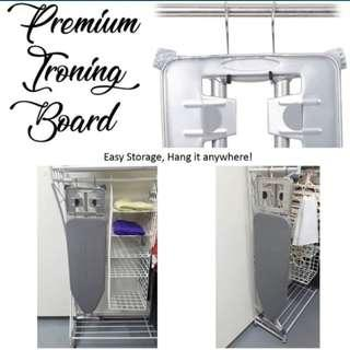 Premium Standing Ironing Board (Black or Sliver Grey) Iron Board Fire Retard Fabric Ironing Board Cover