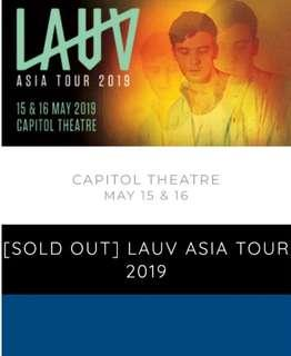 SELLING SG LAUV CONCERT 16th MAY CAT 1 STANDING TICKET