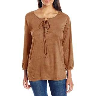 Brown Suede Lace up Blouse
