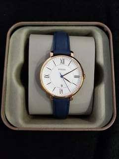🚚 FOSSIL JACQUELINE NAVY LEATHER WOMEN'S WATCH