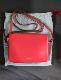 Cath Kidston 紅色兩隔實用斜背方盒型小袋 cross body bag