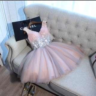 公主甜美公主式淺粉紅珠片蓬蓬裙(適合出席宴會、晚會活動、events show、婚宴、生日會)