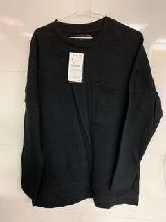 Zara 前後不對稱衣襬長袖/黑色