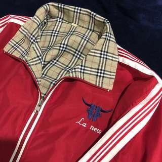 古著 復古 La new 雙面 外套 格紋 格子 運動外套