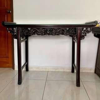 Antique table with glass table top
