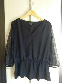 Black lace sleeves blouse