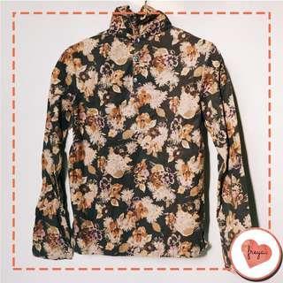 Blouse Floral Turtleneck