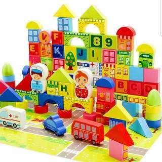 100pcs+60pcs Wooden Building Blocks and Puzzles Educational Toy Set with Alphabets Numbers Counting Cars Vehicles Set