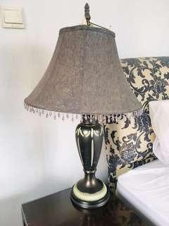 Table Lamp with ceramic stand and beaded blue fabric cover
