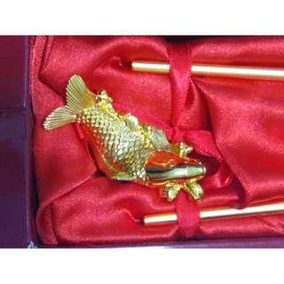 Gold Plated (RISIS 24K) Chopsticks with Carp Rest
