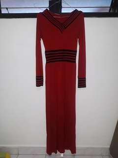 Preloved Gamis Katun Strech Merah ukuran S