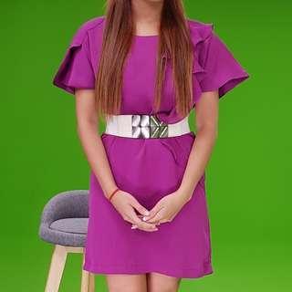 桃紅色花苞袖短洋裝樣衣