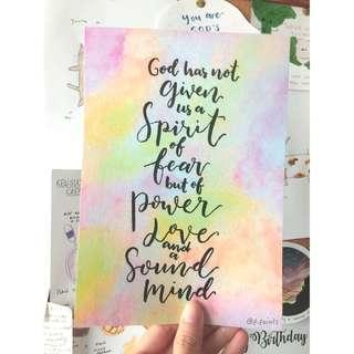 Power, Love and a Sound Mind | Watercolour ART PRINT