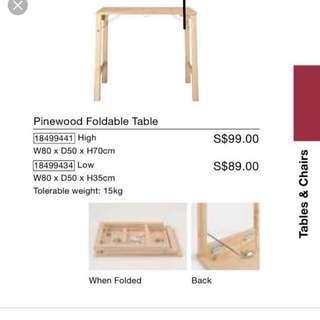 🚚 Muji Foldable Table L80xD50xH70