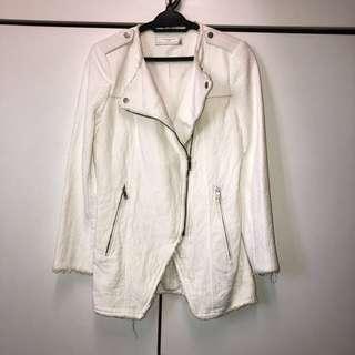 Zara Biker Coat/Jacket with Faux Leather Detail