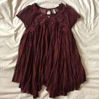 FREE PEOPLE Maroon Blouse