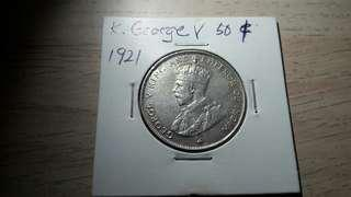 1921 George V King 50 cents #STB50