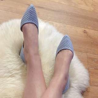 baby blue pointed flat
