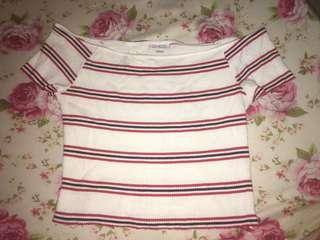 Off shoulder stripes top