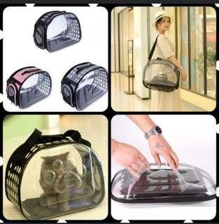 Transparent foldable pet carrier