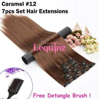 Hair Extensions Clip On 7 Pieces Set Straight 60cm Caramel #12