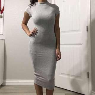 Grey Ribbed Knitted Bodycon Dress